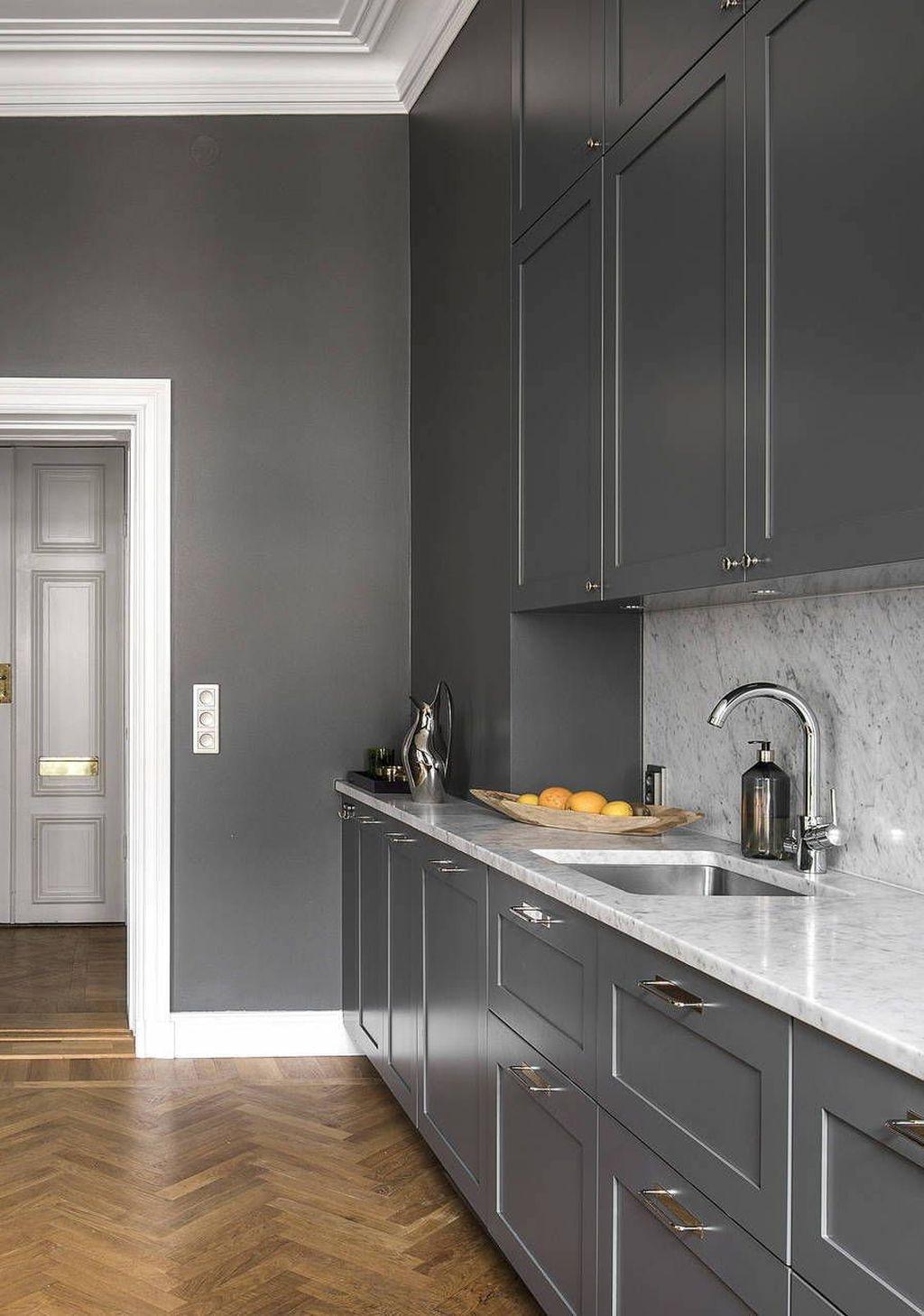 Inspiring Dark Grey Kitchen Design Ideas 38