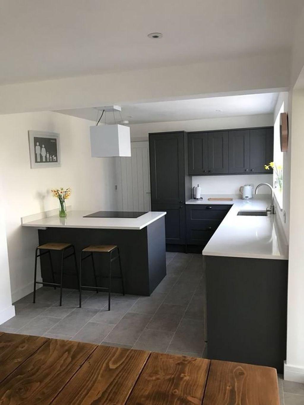 Inspiring Dark Grey Kitchen Design Ideas 40