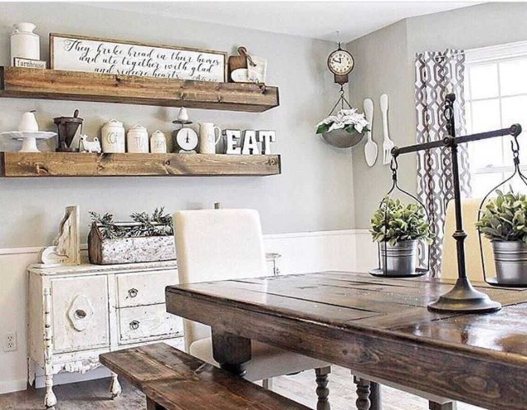 Stunning Farmhouse Dining Room Decoration Ideas 17