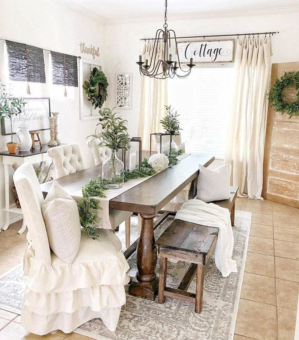 Stunning Farmhouse Dining Room Decoration Ideas 28