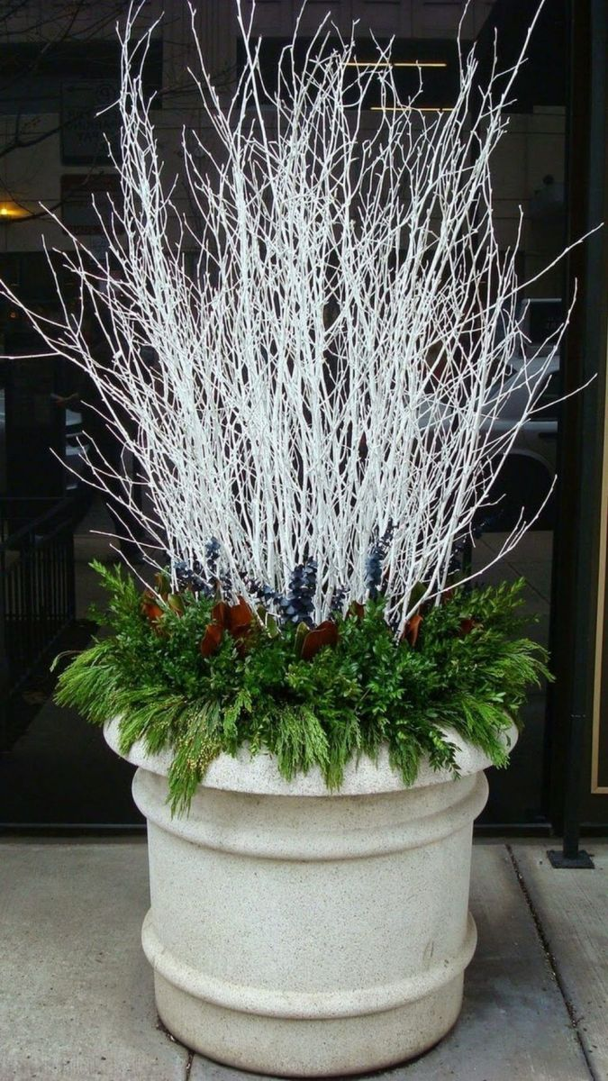 Perfect Outdoor Winter Planters Ideas 31