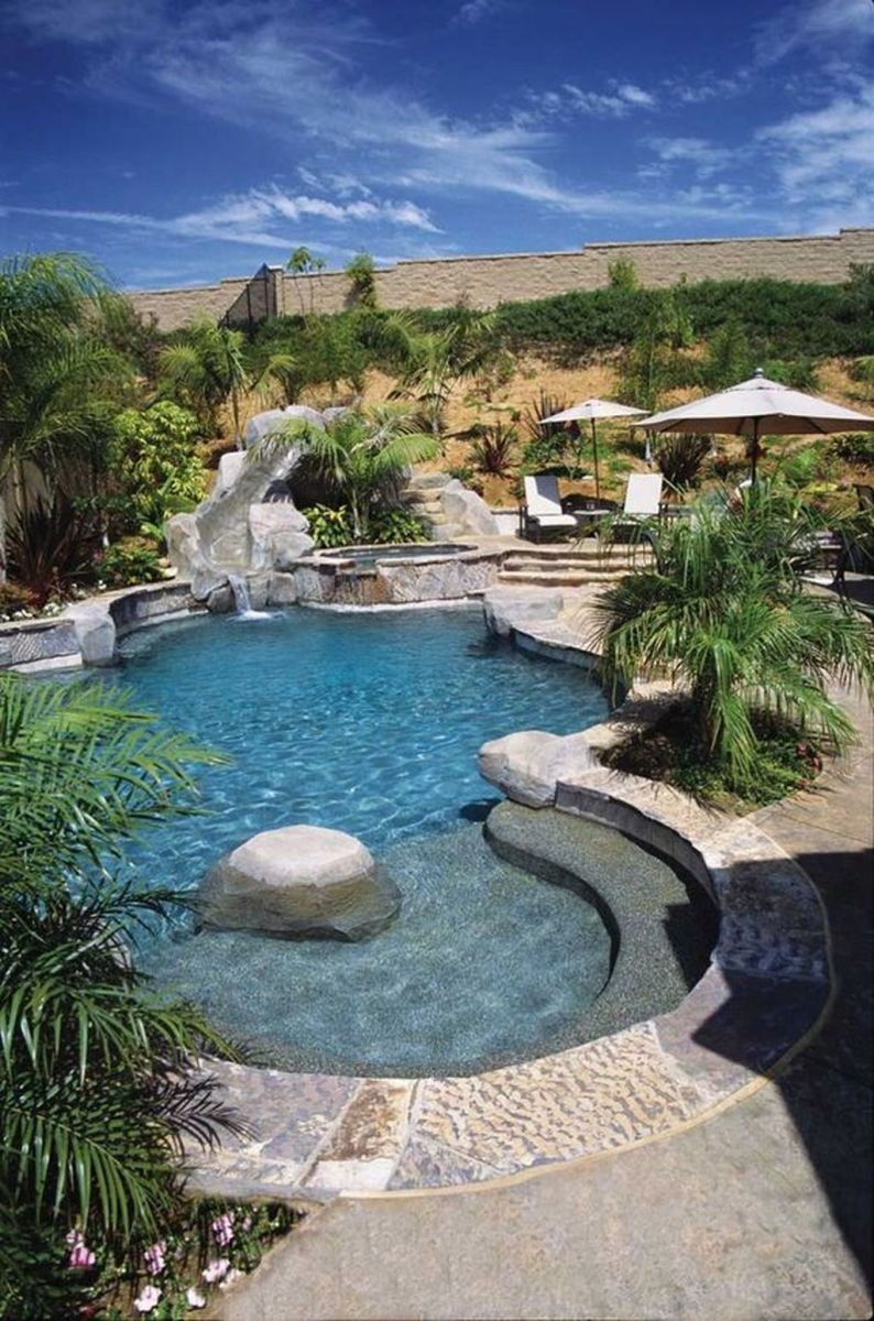 Lovely Swimming Pool Garden Ideas To Get Natural Accent 18