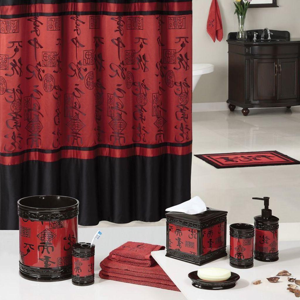 Red And Black Bathroom Set