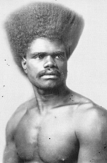 "Fijian hairstyle ornately combed upward ""bui ni ga"" (afro). Circa: 1890s. (c) Fiji Museum"