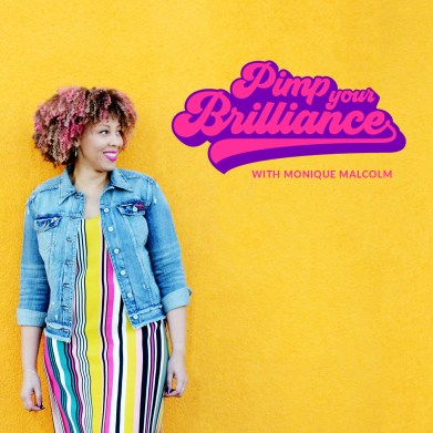 smiling woman stands against yellow background with the word pimp your brilliance written in pink and purple