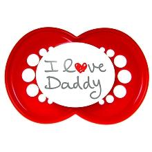 toys' r us 2 sucettes MAM 2ème âge + boîte stérilisable - I love Daddy + coeur rose