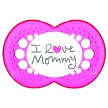 toys' r us 2 sucettes MAM 2ème âge + boîte stérilisable - I love Mummy + coeur rose