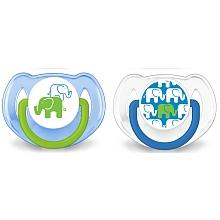 toys' r us 2 sucettes éléphant - Silicone 6-18mois- bleues
