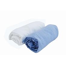 toys' r us 2 draps housse 70 x 140 cm blanc/bleu