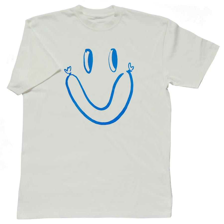 Smork blue print on Organic cotton T-shirt