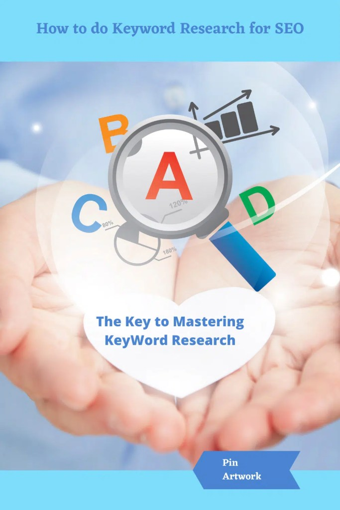 Improving your SEO with Keyword Research - a palm of hands holding the key to mastering keyword research.  The grade of A is in the center of the magnifying glass after the blog has been examined for it's SEO.