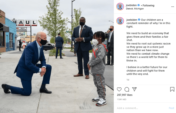 Picture of US Presidential Candidates Joe Biden kneeling before Don Little goes viral 4