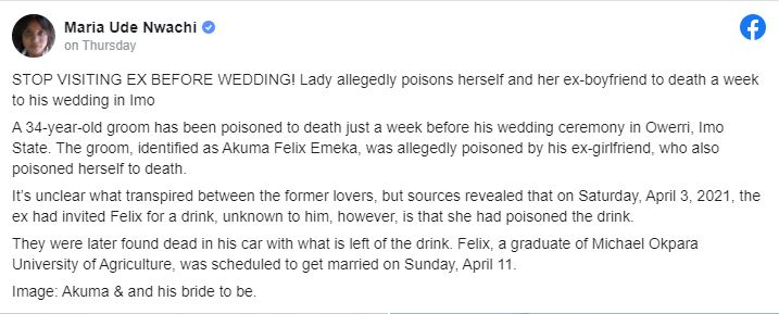 Shocking!!! Jealous Pregnant Lady Poisons Herself And Her Ex-boyfriend 1-Week To His Wedding 2