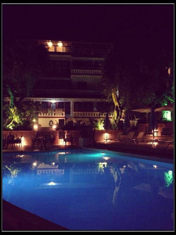 Valtos Beach Hotel at night