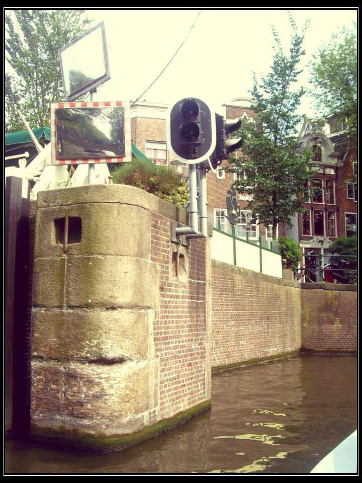 Stoplight along the Amsterdam Canals.