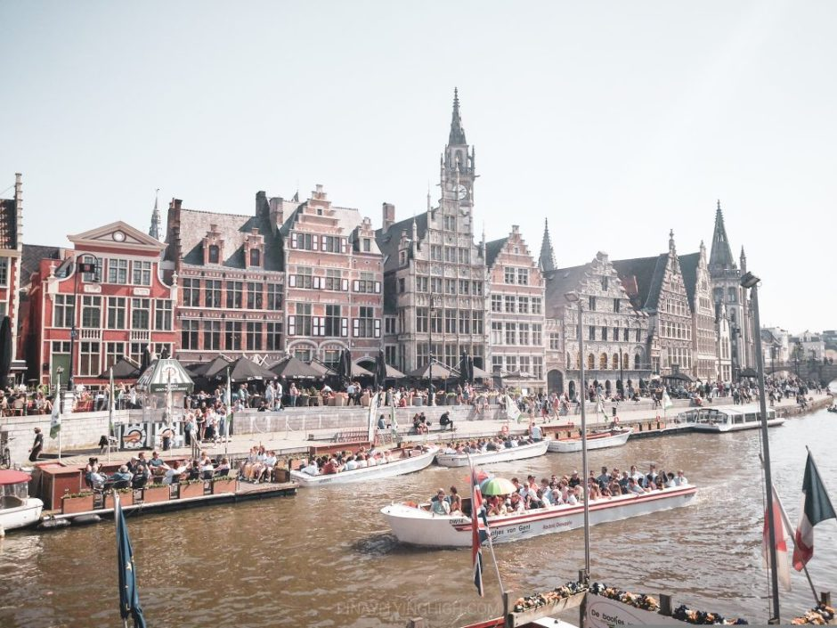 River cruise boats along Lys River in Ghent, Belgium