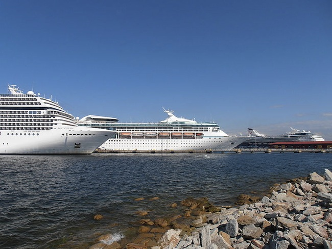 Cruise ships docked in Talinn Passenger Port in Estonia. Photo by  Pjotr Mahhonin via Wikimedia Commons.