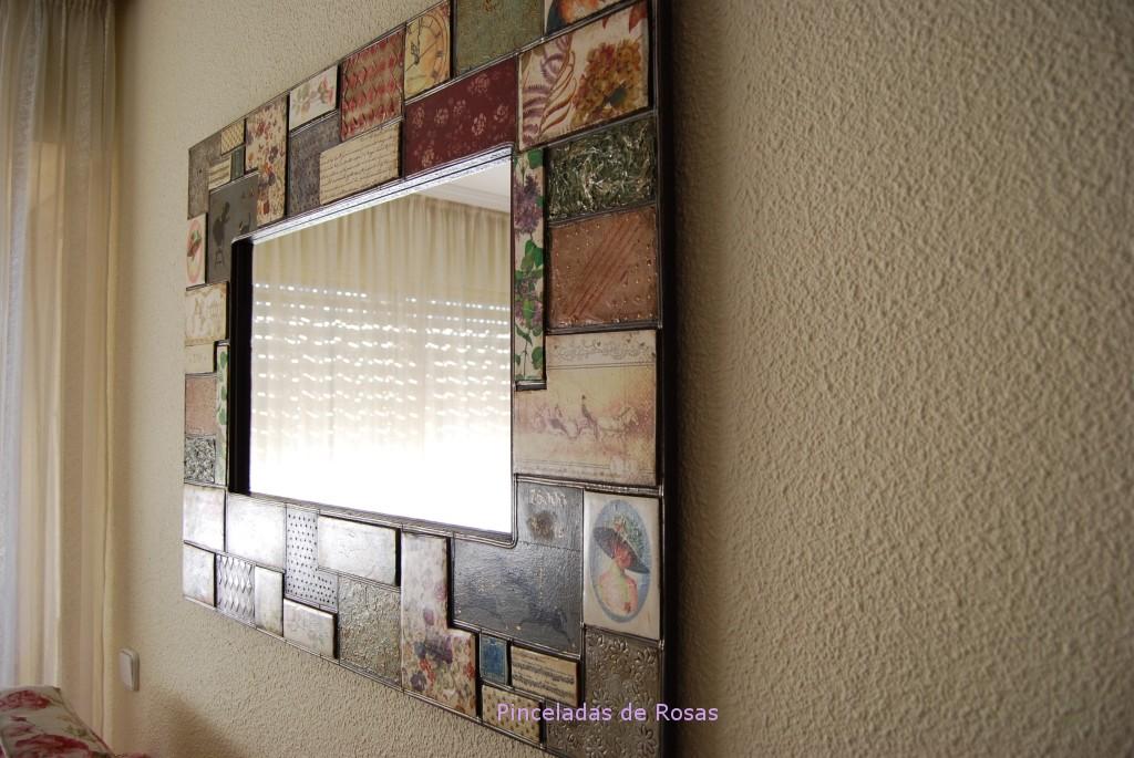 Espejos pinceladas de rosas for Espejos con marcos decorados
