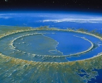 Рис. 2 Кратер 150 км диаметра от столкновения с метеоритом 66 млн. лет до н.э. Юкатан, Мексика