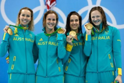 Gold, Gold, Gold for Australia: Womens 4x100m Freestyle Relay
