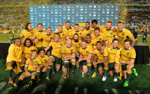 Australia celebrate victory in the 2015 Rugby Championship one of the Pinch Hitters Top Five Wallabes Wins of the Cheika Era.