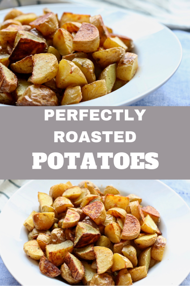 Perfectly Roasted Potatoes are super crispy, light and filling and are easy to make. Only 3 ingredients and 25 Minutes! Kid-friendly and the best snack or side dish!