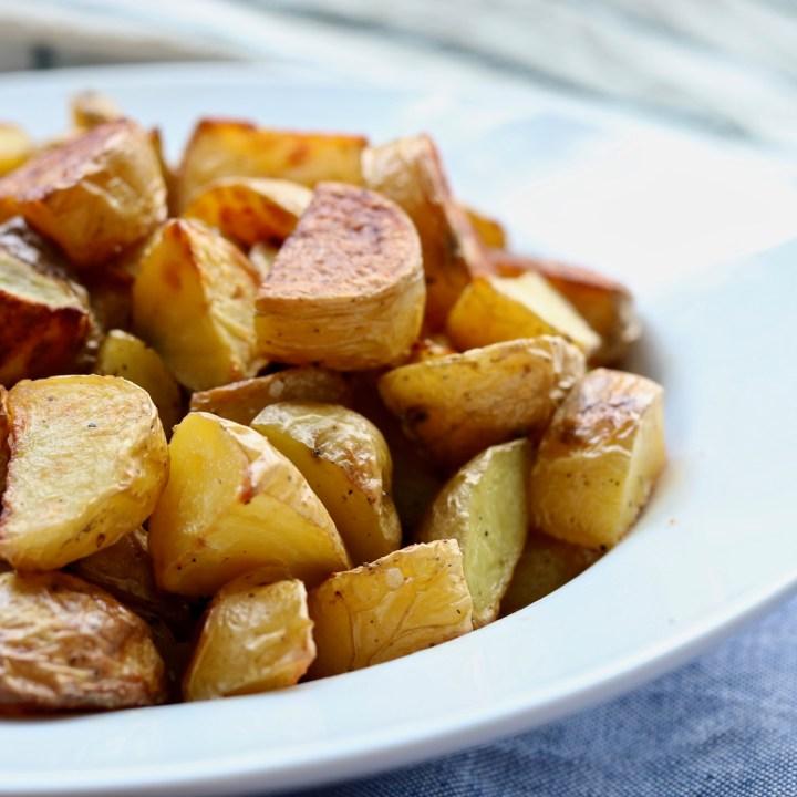 Close up shot of crispy potatoes