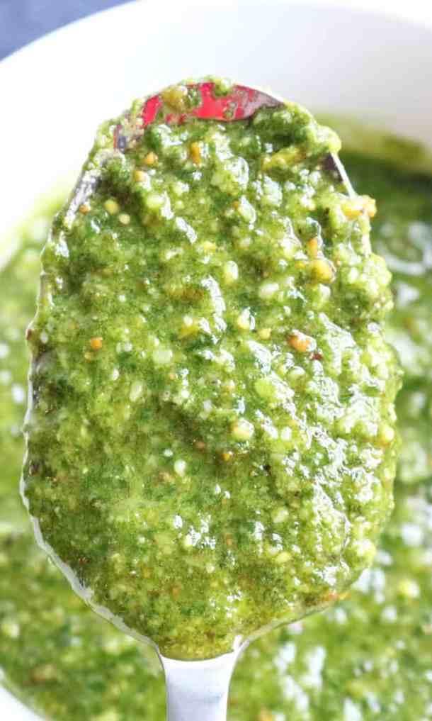 Pesto-on-spoon
