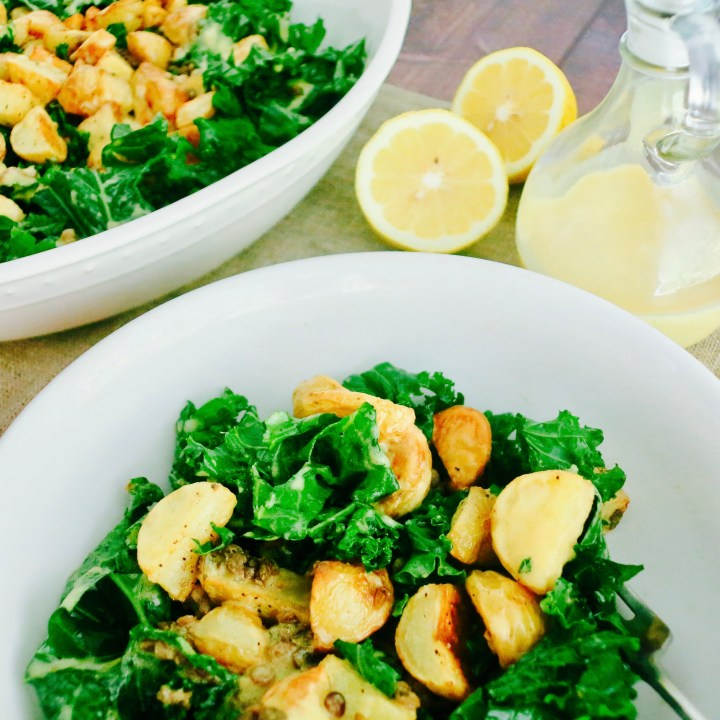 Lemon Potato Lentil Kale Salad