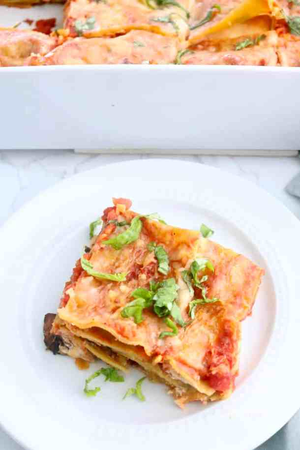 Slice of Skinny Mushroom and Spinach Lasagna