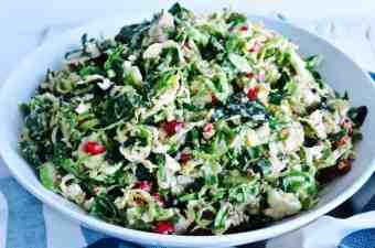 Pile High Brussel Sprout Salad with Lemon Shallot Dressing