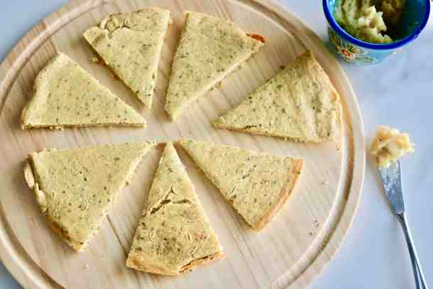Chickpea Flatbread with Roasted Garlic Spread