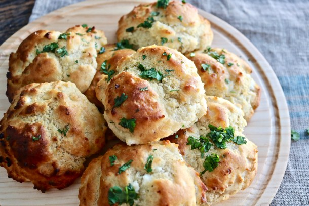 Plateful of Goat Cheese and Herb Biscuits