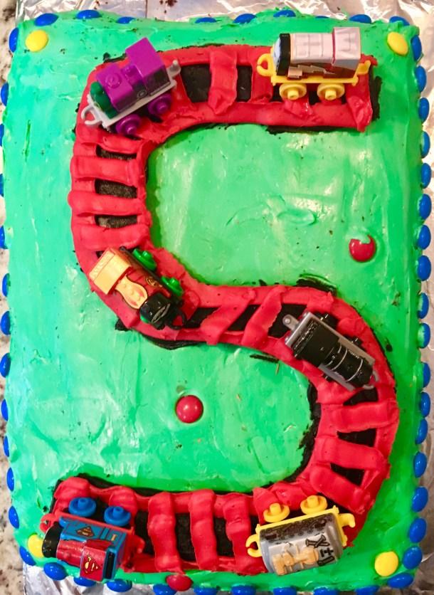 Train theme Five Year Birthday Cake