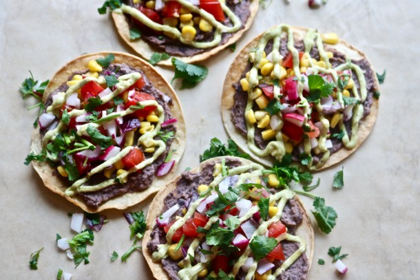 Black Bean Veggie Tostadas with Avocado Cream