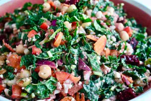Kale veggie salad in large bowl