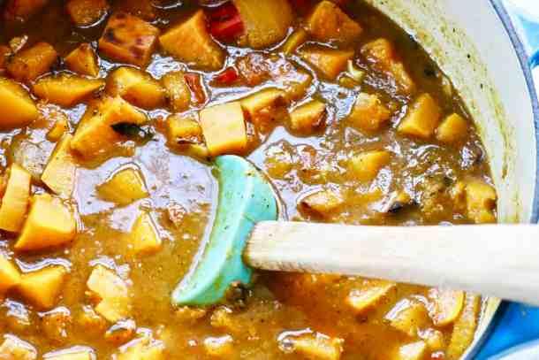 Cooking pumpkin butternut squash soup