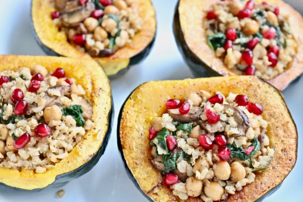 Cooked stuffed acorn squash