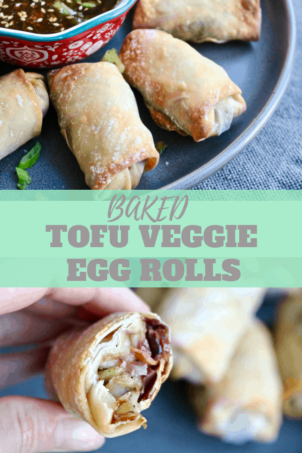 Crispy baked tofu veggie egg rolls.  Sautéed tofu, cabbage, carrots and green onions mixed with soy sauce, sesame oil, garlic and ginger and baked in wonton wrappers to crispy perfection.  Paired with a delicious ginger sesame dipping sauce.  #tofueggrolls #veggies #vegan #vegetarian #healthybakedeggrolls #sesamegingerdippingsauce