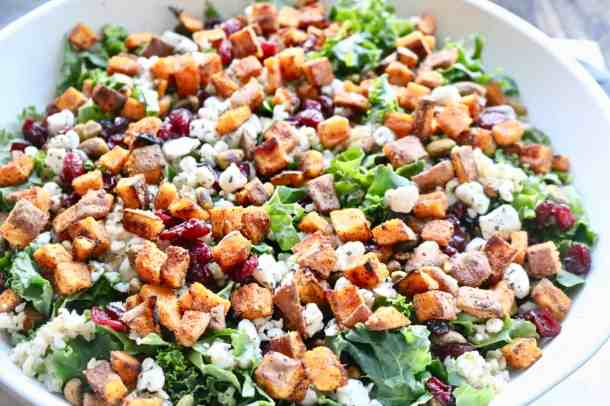 Kale winter salad with sweet potato