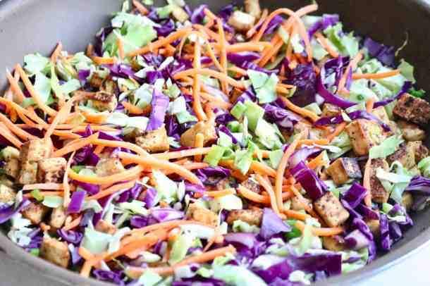 Sautéed cabbage, carrots and tofu in pan