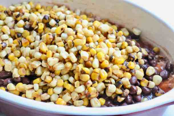 Corn and beans in a casserole dish