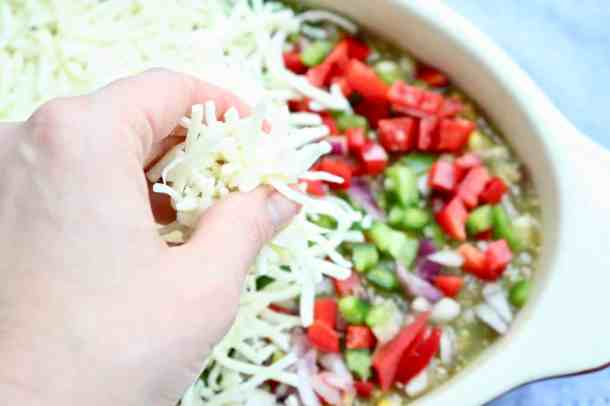 Topping bean dip with cheese