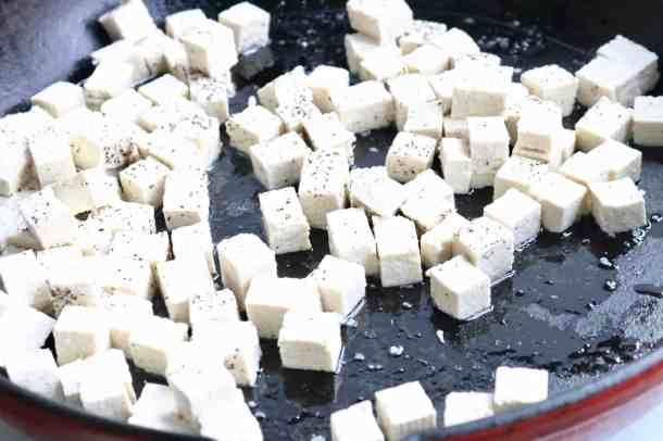 Sautéing tofu in cast iron pan