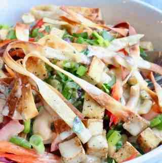 Crunchy Asian Salad with Tahini Dressing