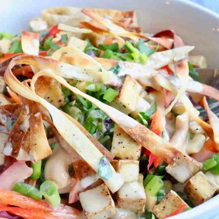 Crunchy Asian Salad with Tahini Dressing
