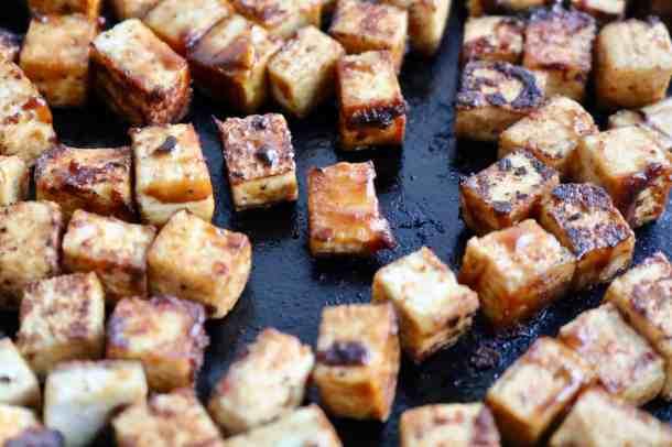 Cooking tofu in pan