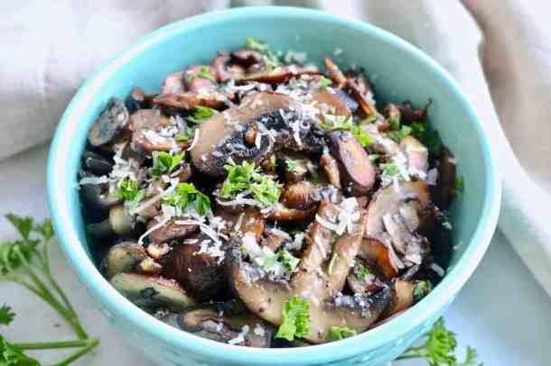 Garlic and herb mushroom in a bowl