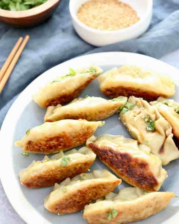 Vegetarian dumplings on a plate