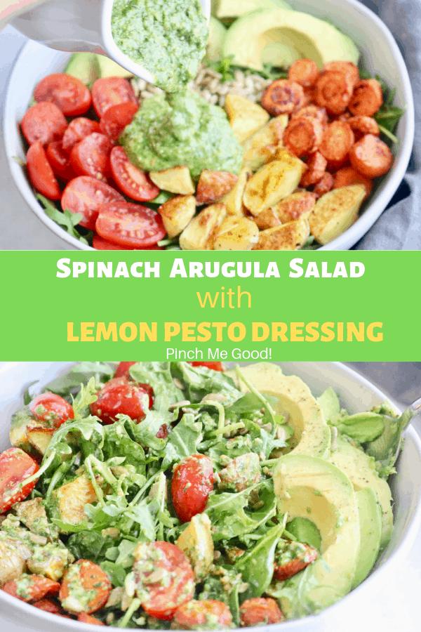 Spinach Arugula Salad with Roasted Vegetables and Lemon Basil Dressing